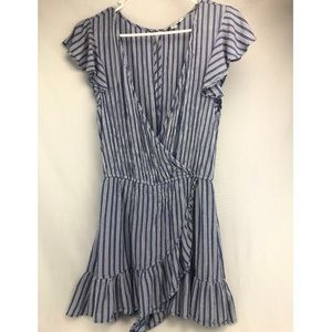 American Eagle Romper Blue and White Striped MED